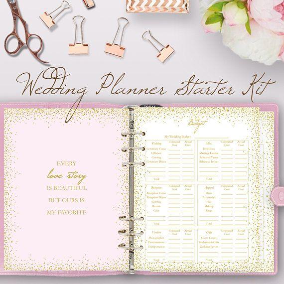 Glitter Pink Wedding Planner Book Wedding Planning Book Etsy Wedding Planner Printables Wedding Planner Binder Wedding Planning Binder