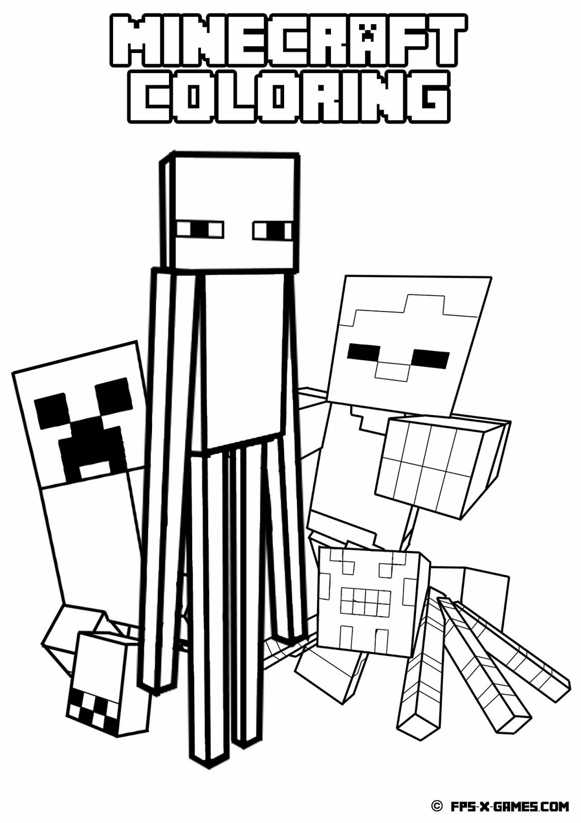 printable minecraft coloring mob minecraft party ideas