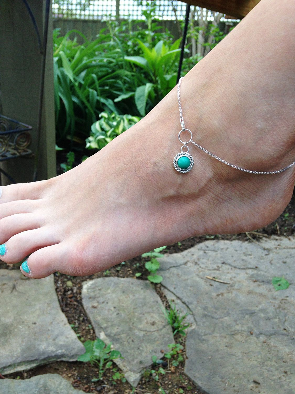 Turquoise Sterling Silver Anklet Cabochon stone Lobster claw clasp