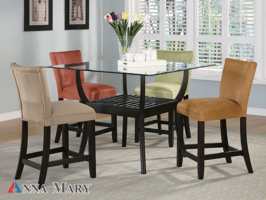 Glass Counter Height Table Black Finish 4 5 X4 5 Square I Like The Different Colored Chairs Too Dining Room Sets Tall Kitchen Table Kitchen Table Settings