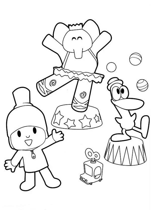 Pocoyo Doing Circus With His Friends Coloring Page Color Luna Coloring Pages Pocoyo Coloring Pages For Kids