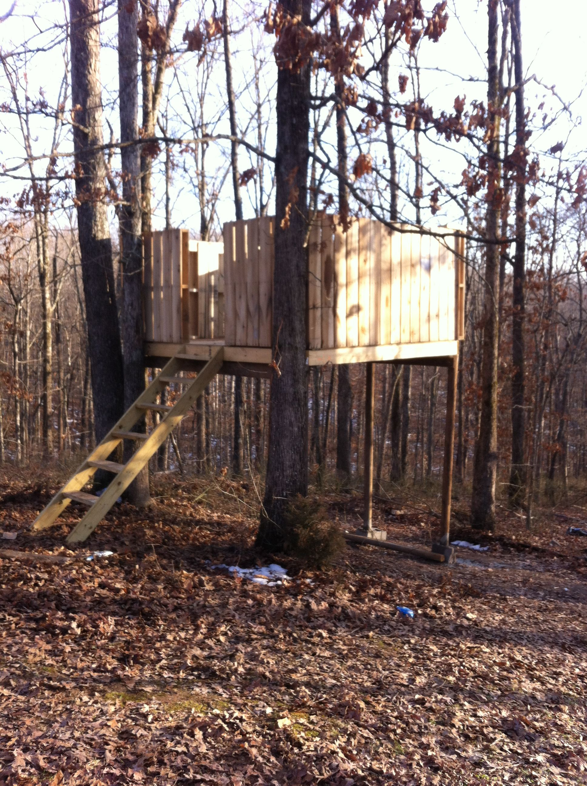 Treehouse we made in our backyard with pallets and some for Pallet tree fort