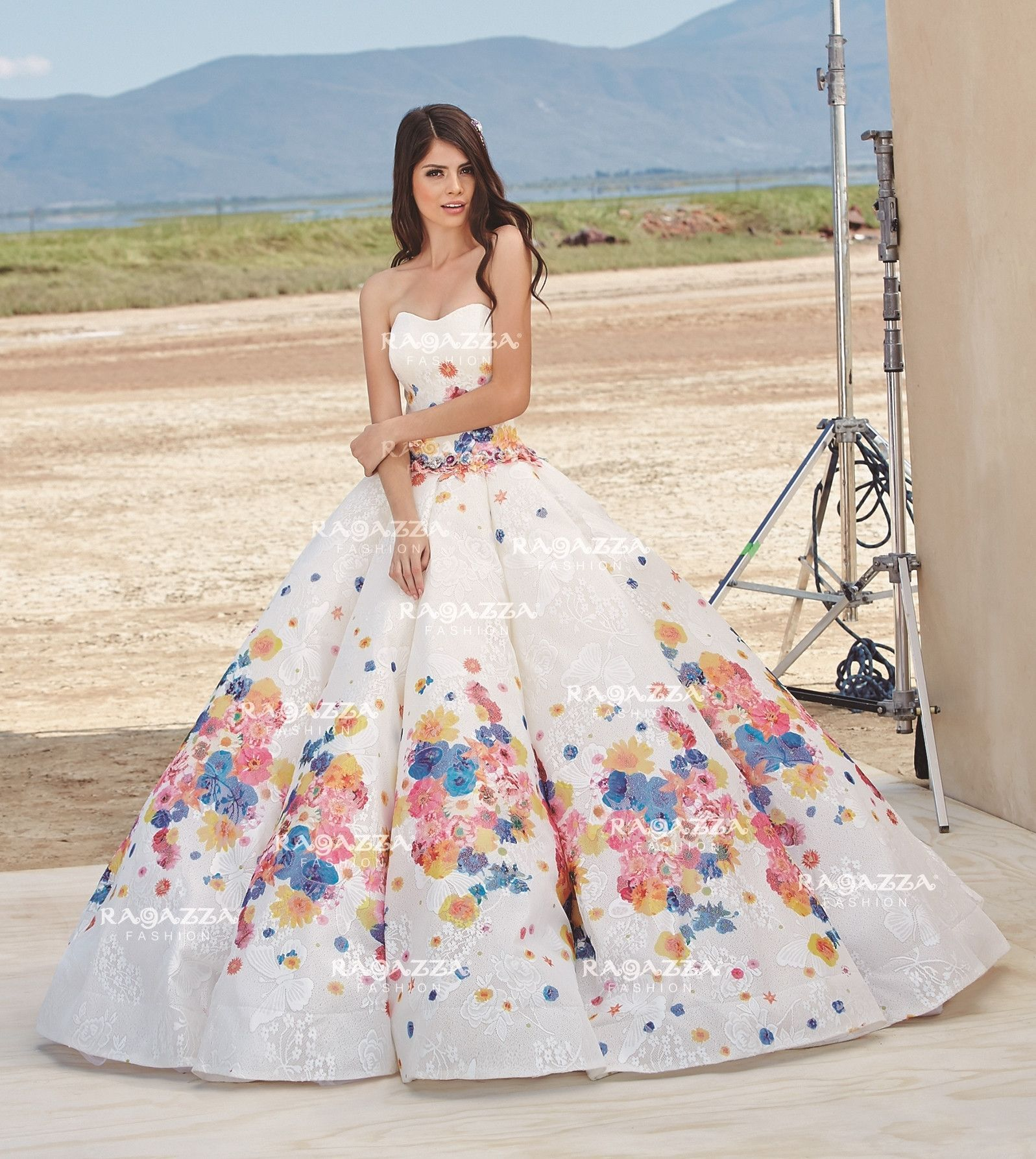 Flower print wedding gown  Floral Print Quinceanera Dress by Ragazza Fashion Style P