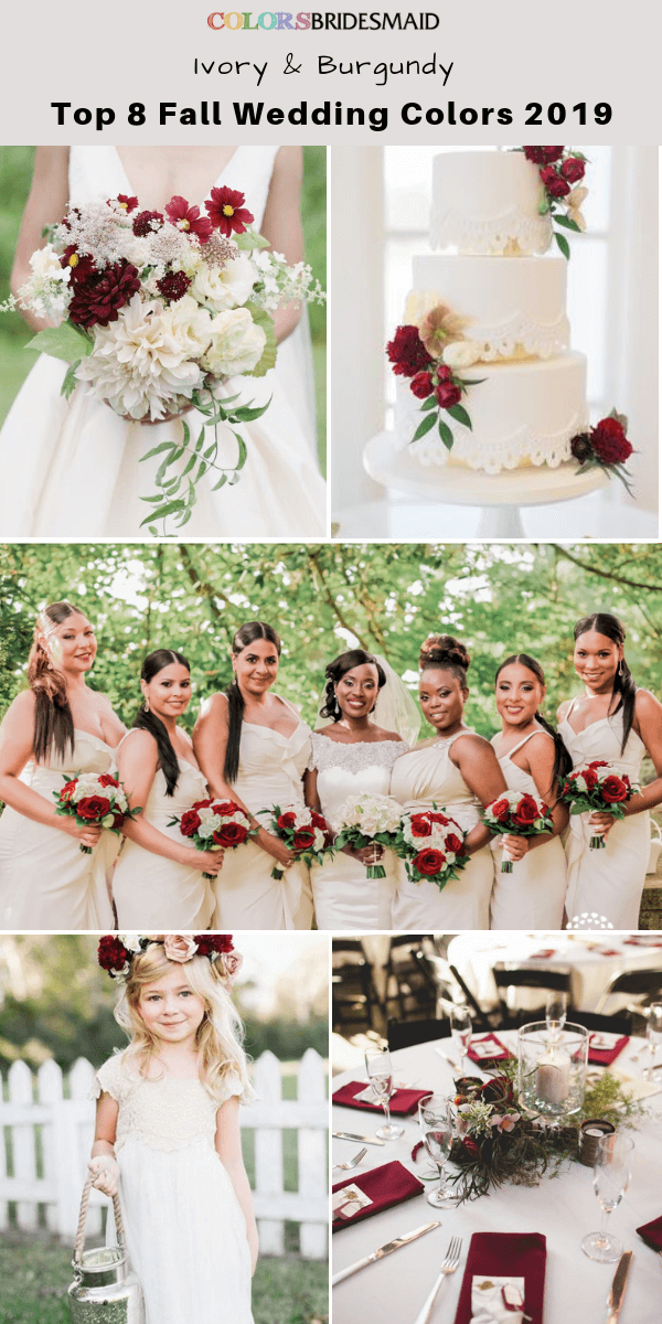 b98bf302e6 Top 8 fall wedding color trends and ideas for 2019 -No.3 Ivory and burgundy   colsbm  bridesmaids  weddings  weddingideas  fallwedding b780