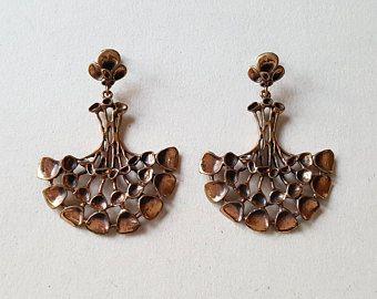 Finnish Kalevala Koru Viipurin Rinkila Bronze Earrings