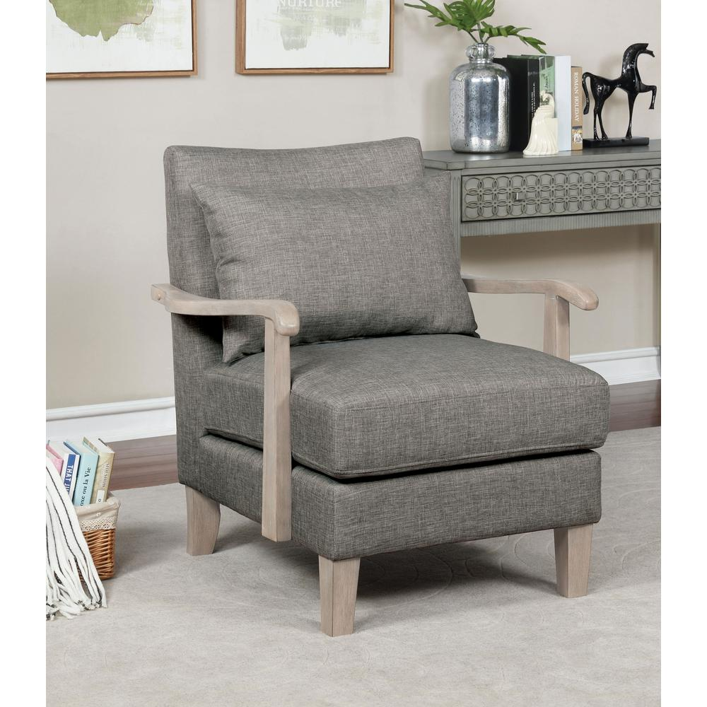 Furniture Of America Jamila Light Gray Fabric Armchair Idf