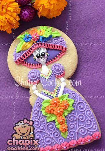 Woah! That's quite the cookie! For Dia de los Muertos! Sei q não tem a ver com a festa, mas achei fofo.