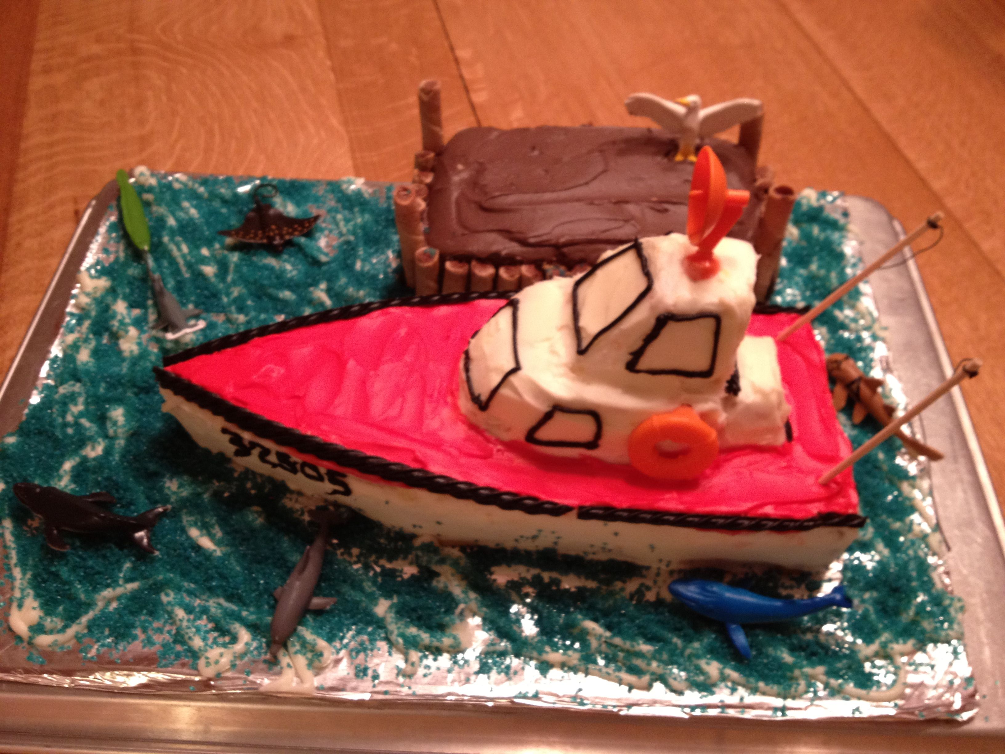 Astounding Boat Birthday Cake Cabin Cruiser With Dock I Baked A 12X18 Inch Personalised Birthday Cards Akebfashionlily Jamesorg