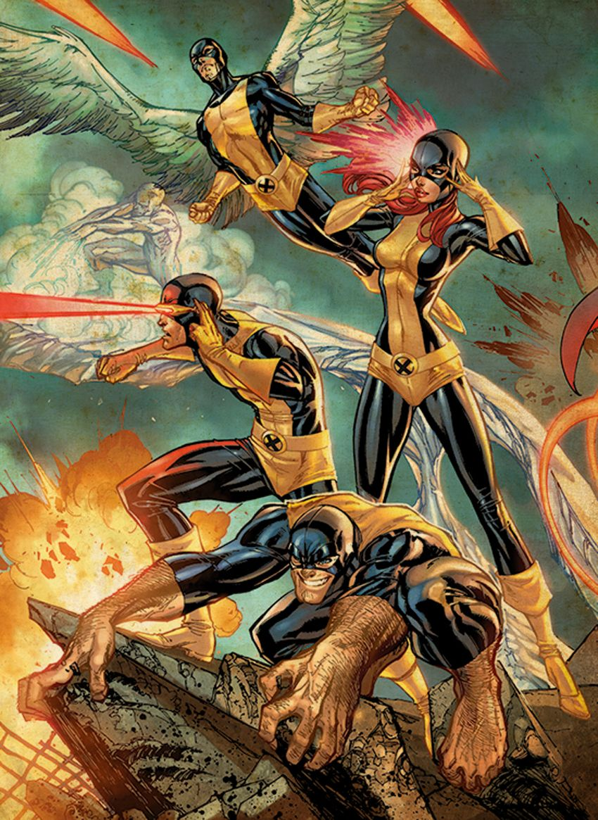 Ausmalbilder Marvel Helden Angel: The Original Team: Iceman, Angel, Jean Grey
