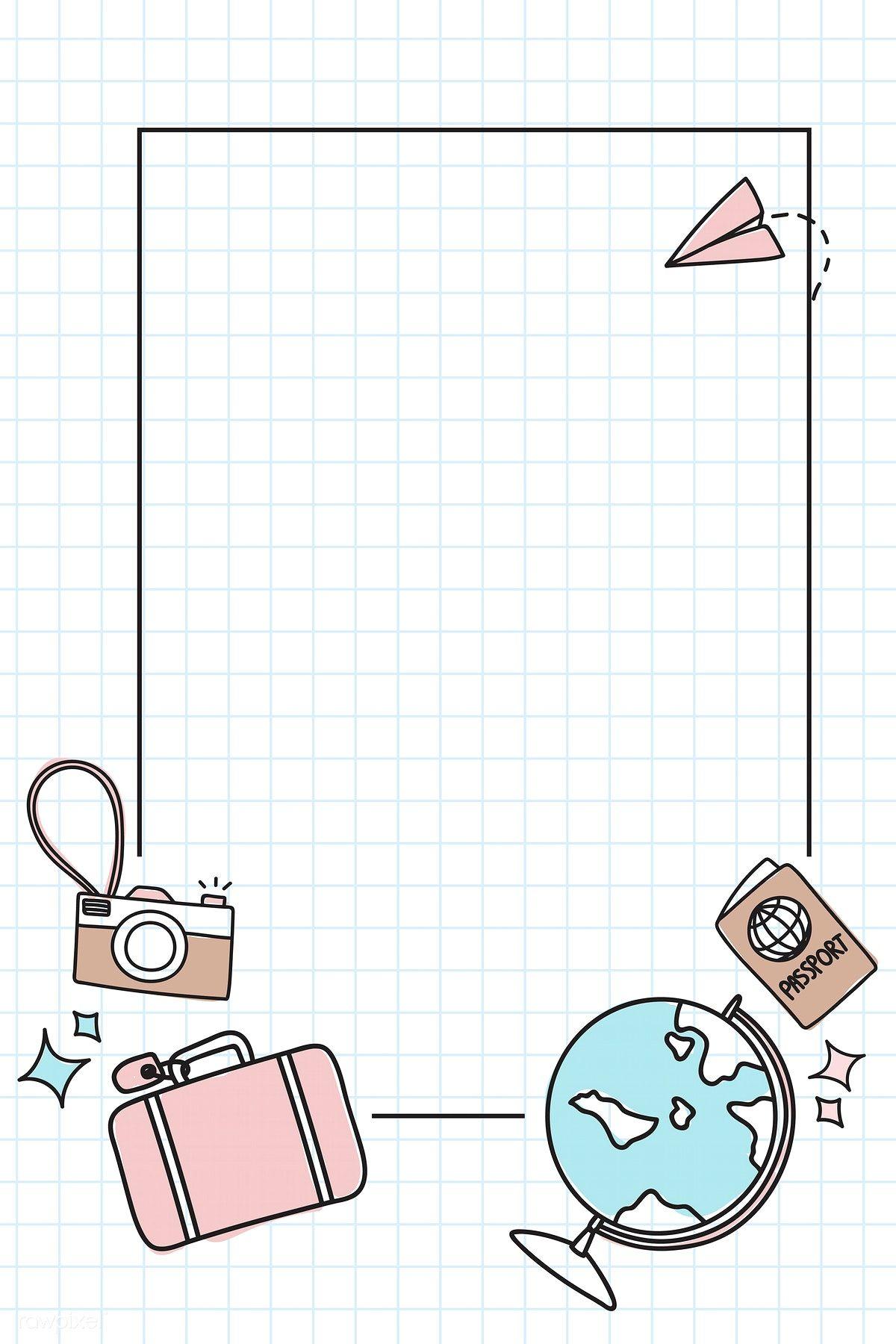 Download premium vector of Hand drawn travel element background vector set