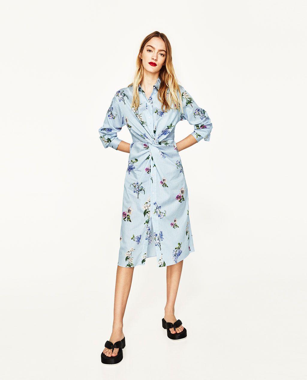 ac71d0bc TÚNICA ESTAMPADA CON NUDO | Zara | Knot dress, Zara dresses, Fashion