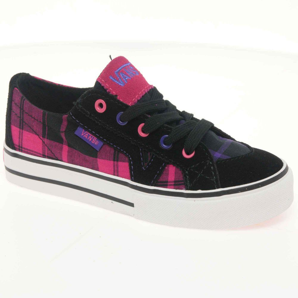 Vans Tory Junior Black Plaid Canvas Lace Up Girls Shoes | Lace ...