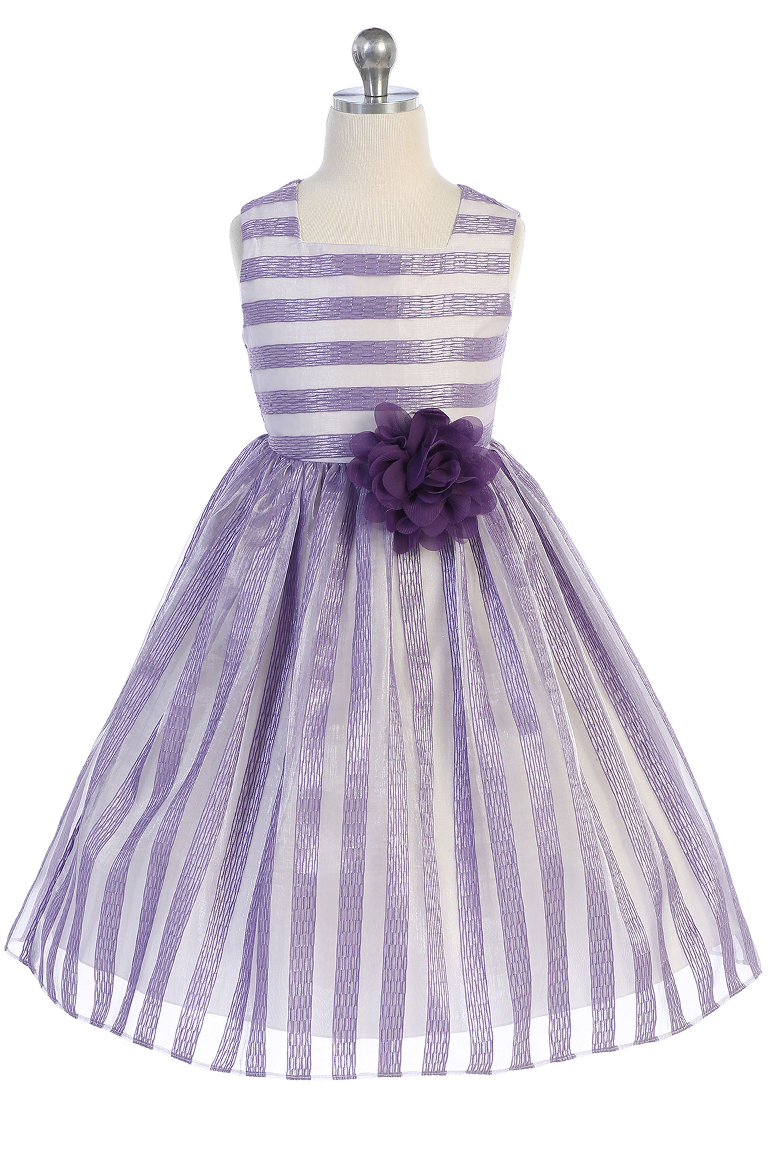 550c2dc54 Lavender   Ivory Striped Girls Easter Dress w. Contrast Lining 2-12