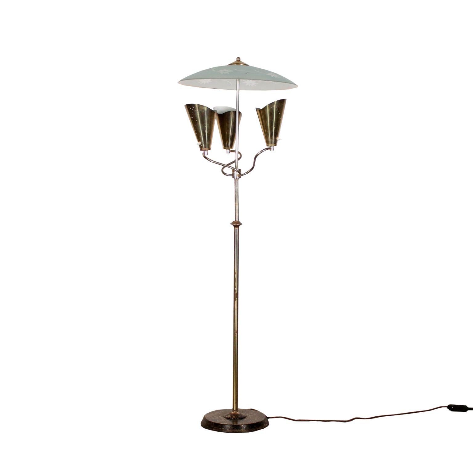 Floor Lamp Chromed Metal Glass Vintage Italy 1960s Floor Lamp
