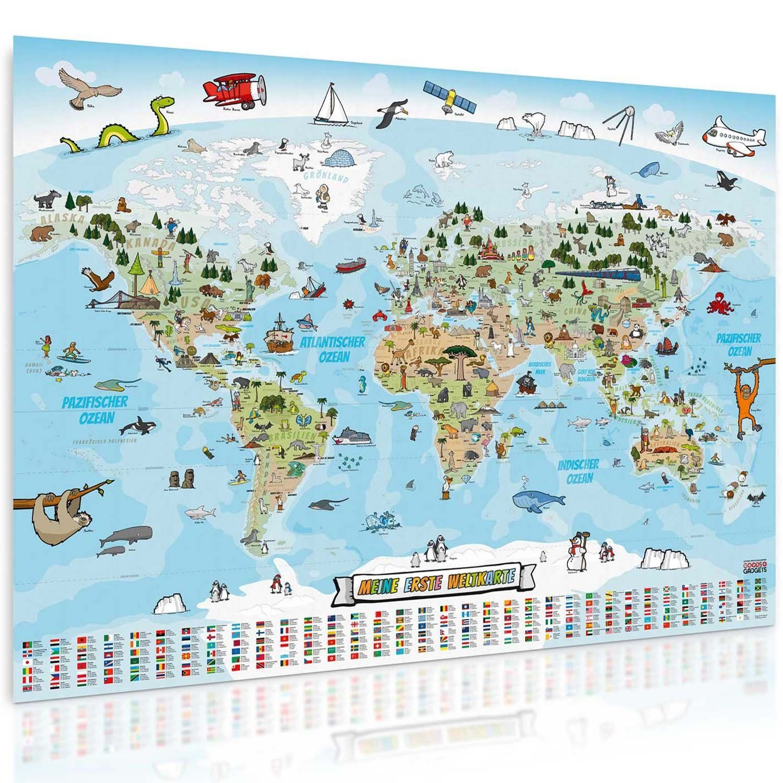 Cute Amazon de Panorama Weltkarte f r Kinder XXL xcm Kinder Weltkarte komplett handgezeichnet