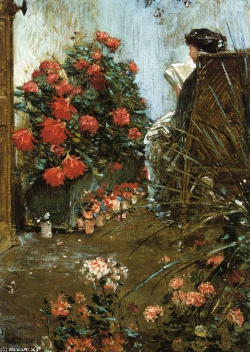 In the Garden at Villers-le-Bel, Oil On Canvas by Frederick Childe Hassam (1859-1935, United States)