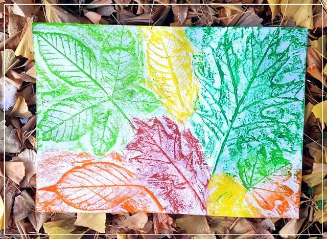 empreintes de feuilles avec des pastels gras activit d. Black Bedroom Furniture Sets. Home Design Ideas