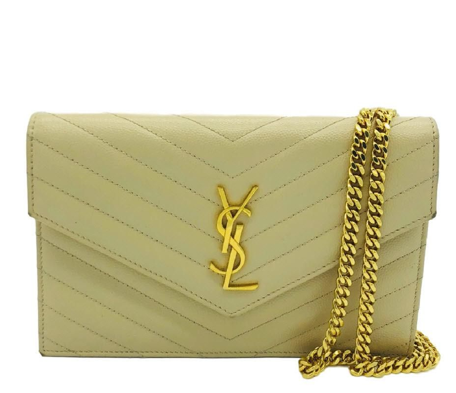5a30bdc8d220ab Saint Laurent YSL Nude Beige Chain Wallet WOC Crossbody Gold Hardware –  MyDesignerly