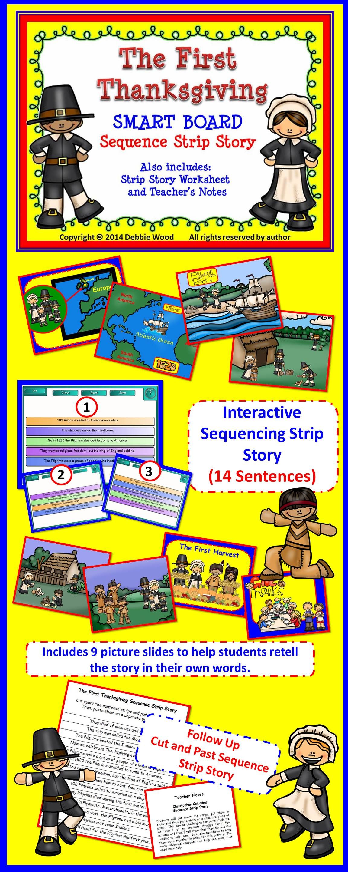 Smartboard Thanksgiving Sequencing Story Amp Worksheet Directions Included