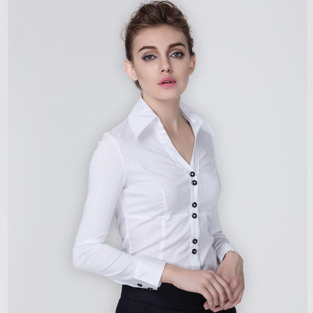 dcb87f9ae631 Women new winter V-neck long-sleeved black diamond buckle professional  female Siamese shirt Korean Slim large size shirts S2766