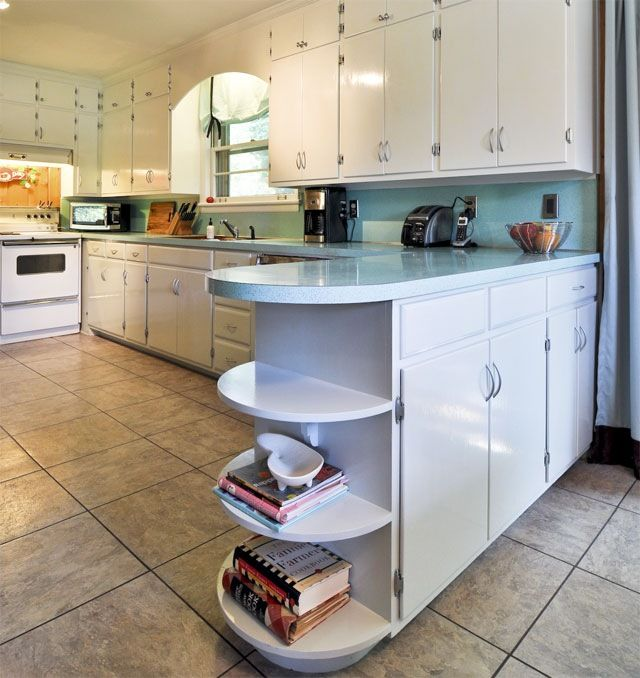 Curved End Counter With Open Shelves