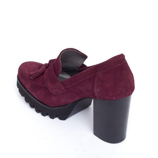 Zapato mujer tacón plataforma color vino burdeos cómodo