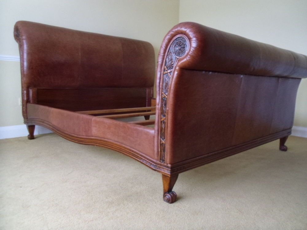 And So To Bed Bonaparte 6ft Super King Sleigh Bed In Antiqued Brown Leather Super King Bed Frame Sleigh Beds King Sleigh Bed