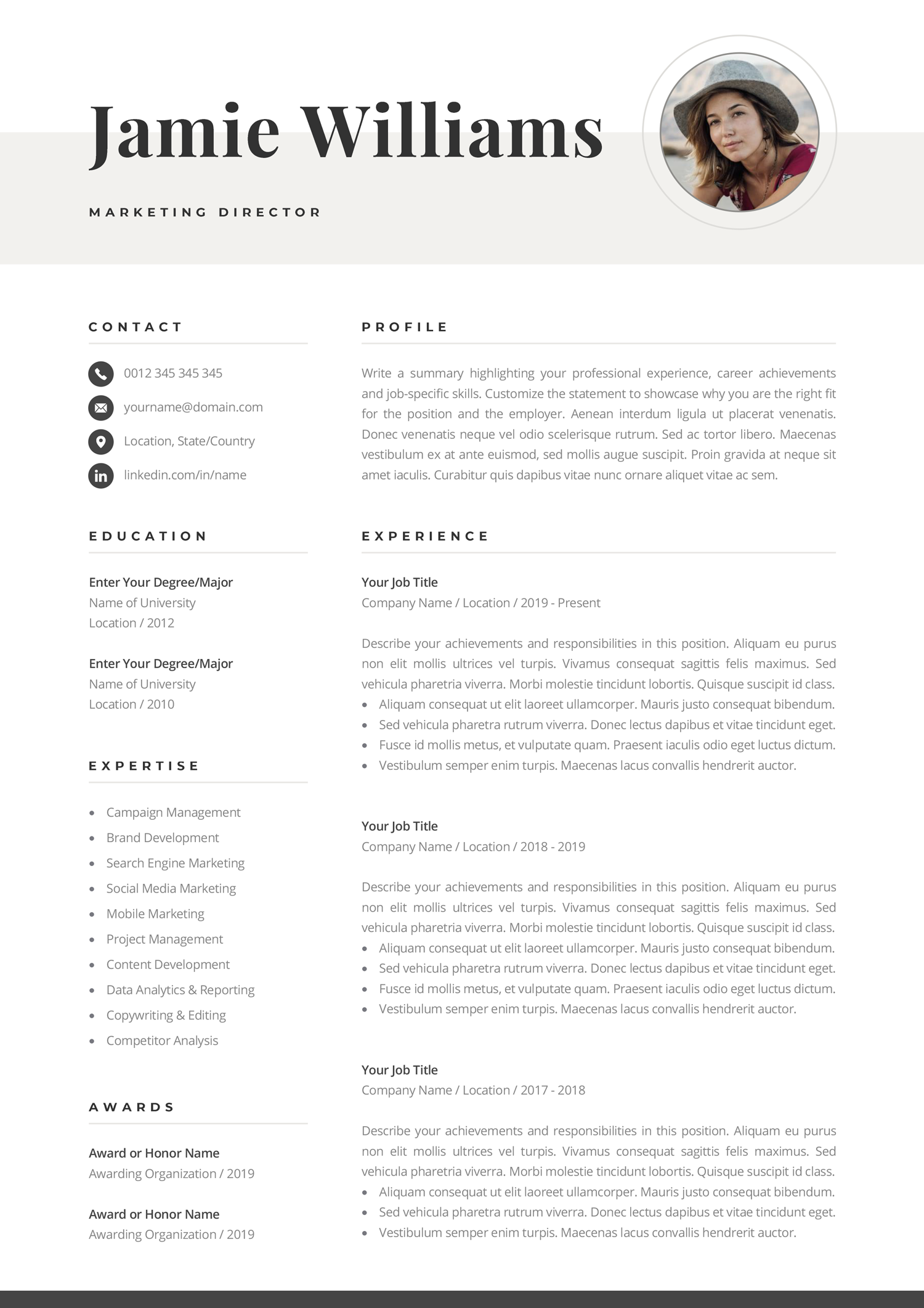 Creative Resume Template With Photo Elegant Design Modern Etsy Creative Resume Templates Resume Template Creative Resume