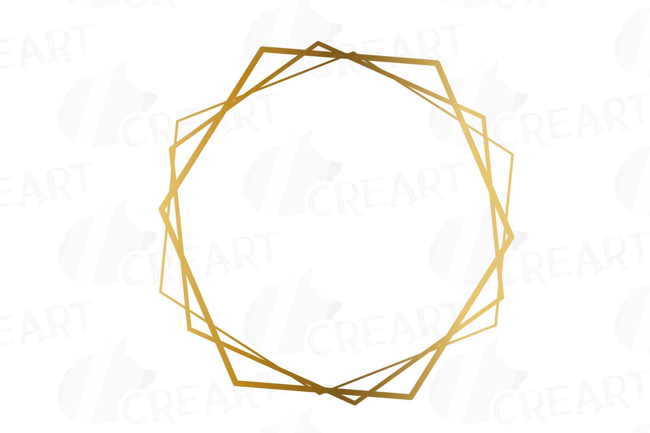 Elegant Wedding Geometric Golden Frames Lineal Frames Clip Etsy Floral Logo Design Floral Border Design Geometric