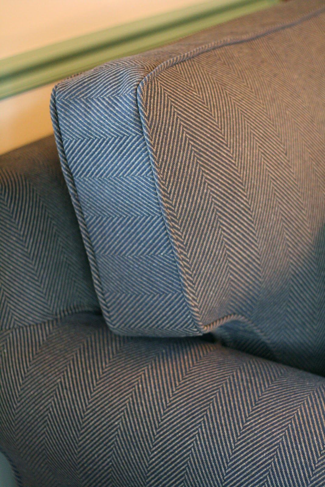 Custom Slipcovers By Shelley Navy Tan Herringbone Couch Slipcover Custom Slipcovers Slip Covers Couch Couch Fabric