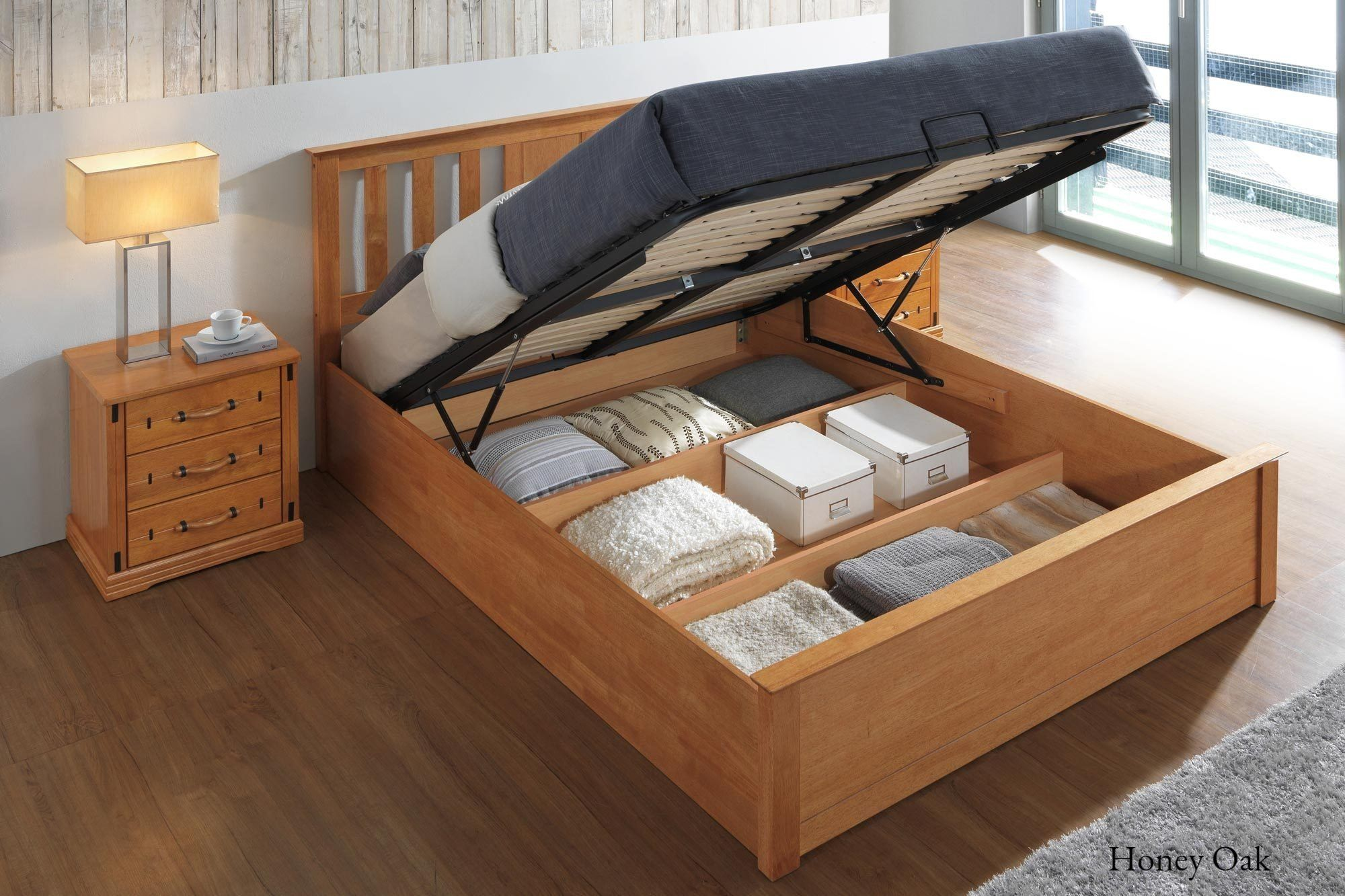 Outstanding Chester Honey Oak Ottoman Storage Bed Frame 5Ft King Size Dailytribune Chair Design For Home Dailytribuneorg