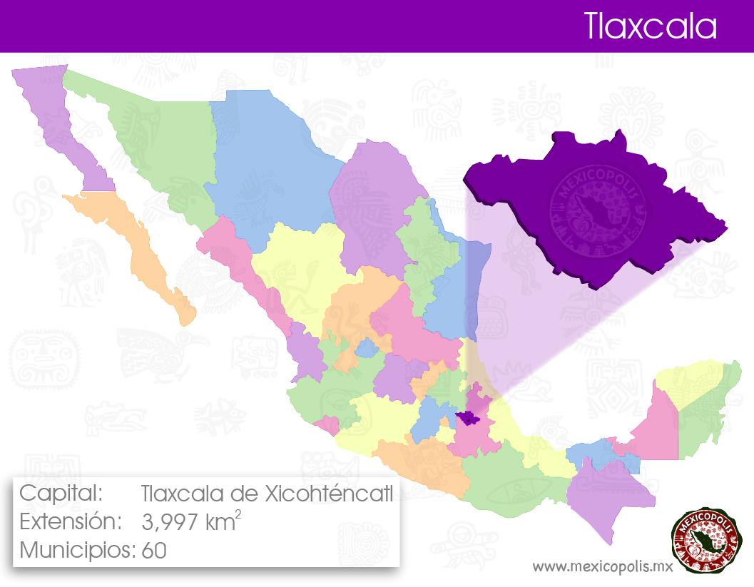 Mapa Ilustrativo De Los Estados De Mexico Y Su Capital Tlaxcala