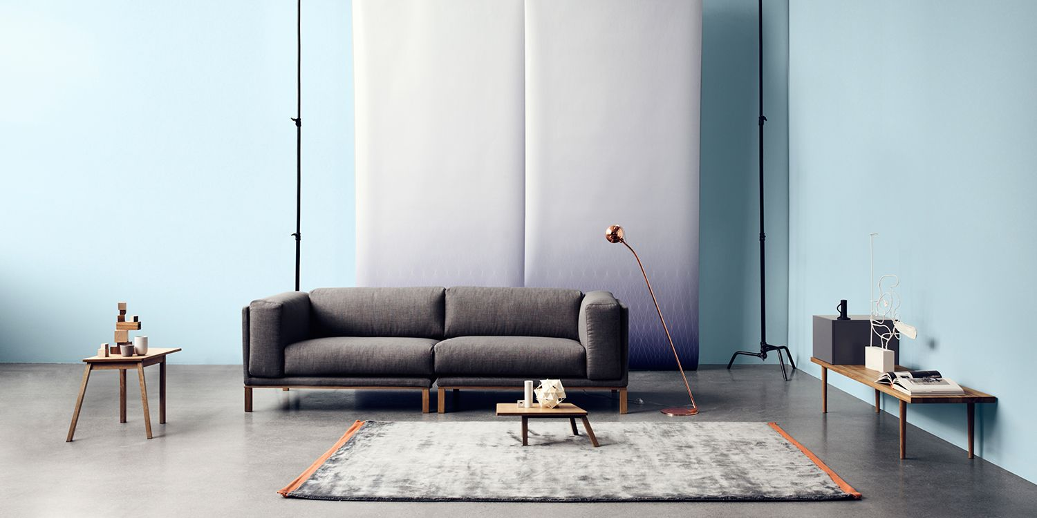 Bolia grey sofa and ball floor lamp in copper prosjekt for Bolia sofa