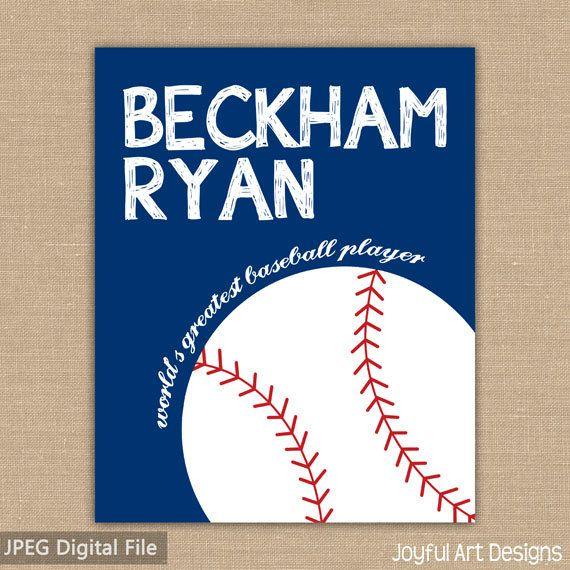 Baseball sign. Custom Name PRINTABLE Sign. Sports Decor. Baseball Sign. Children's Wall Art. Boy Bedroom Decor. DIGITAL file. $8.00