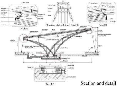 Architecture bamboo structure detail section bamboo for Steel building plans drawings