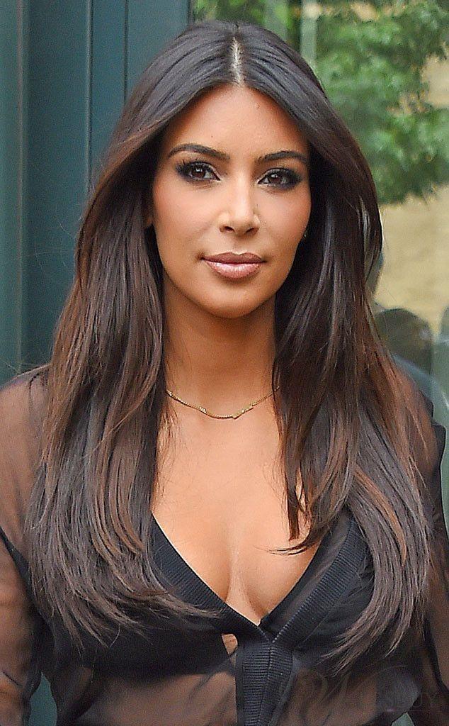 Kim Kardashian Middle Parting Long Straight Lace Front Human Hair