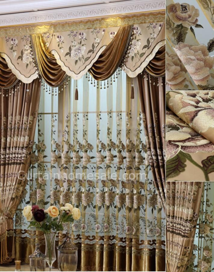 acc0b9d7e4aede Luxury Faux Silk Fabric Living Room Curtain In Coffee Color Without ...