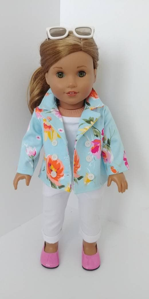 Doll coat. 18 inch doll clothing. Fits like American girl doll clothes. 18 doll clothes. Blue floral stretch Canvas coat #girldollclothes
