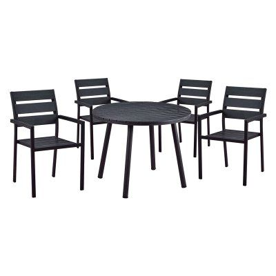 outdoor oakland living slat back faux wood and steel 5 piece round rh pinterest com