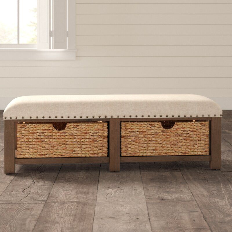 Trisha Yearwood Home Upholstered Drawer Storage Bench In 2020 Storage Bench Storage Bench Seating Narrow Storage Bench