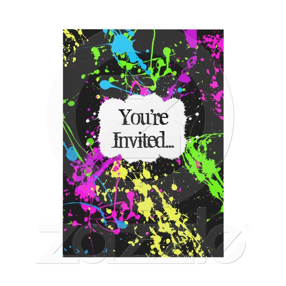 Fresh Retro Neon Paint Splatter Party Invitation Zazzle