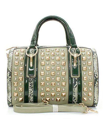Nicole Lee Handbag Jenna Studded Snakeskin Purse Green