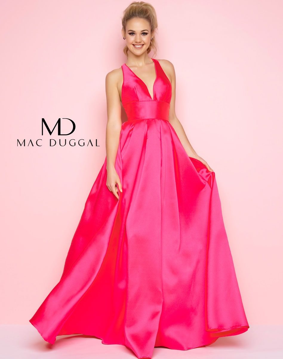 Plunging V-neck, sleeveless, satin floor length fit and flare prom ...
