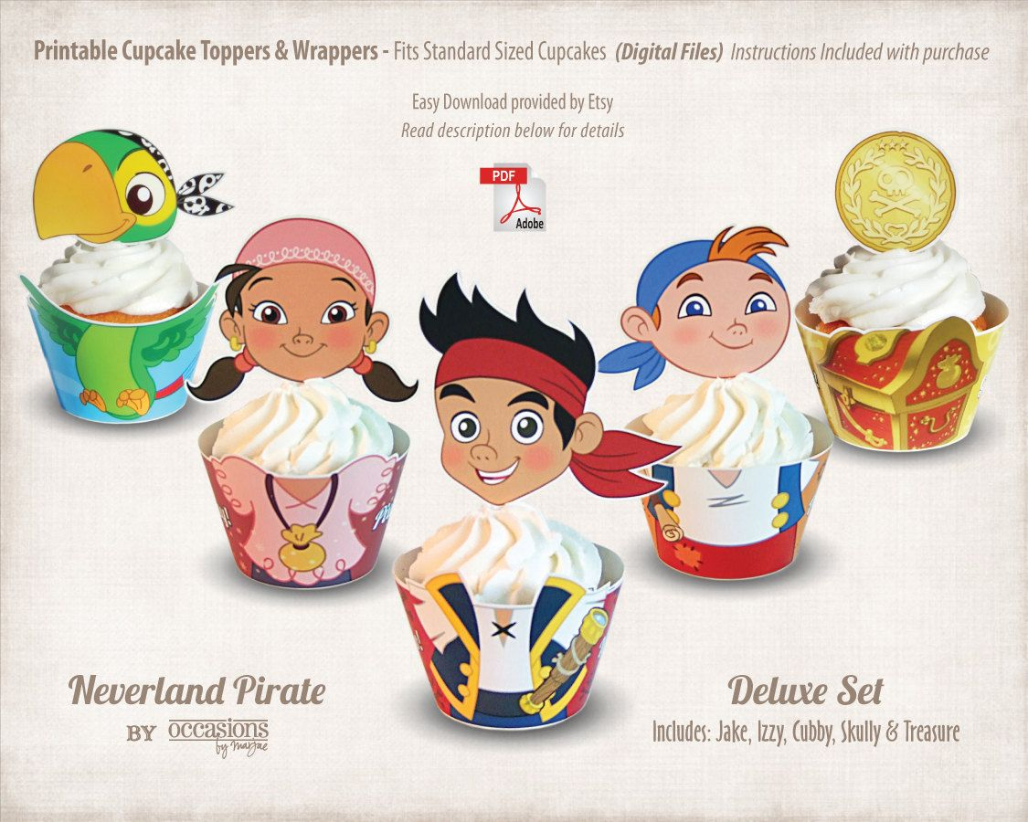 Jake and the neverland pirates cupcake toppers | CUTE! | Pinterest ...