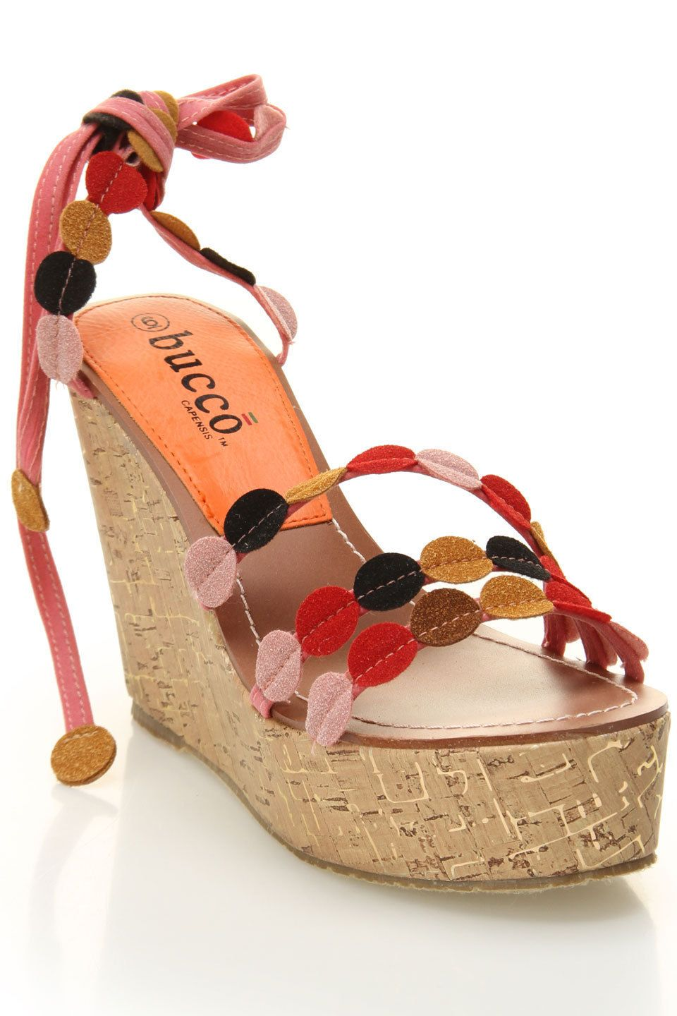 Bucco Venice Wedge In Pink Felt Circles!