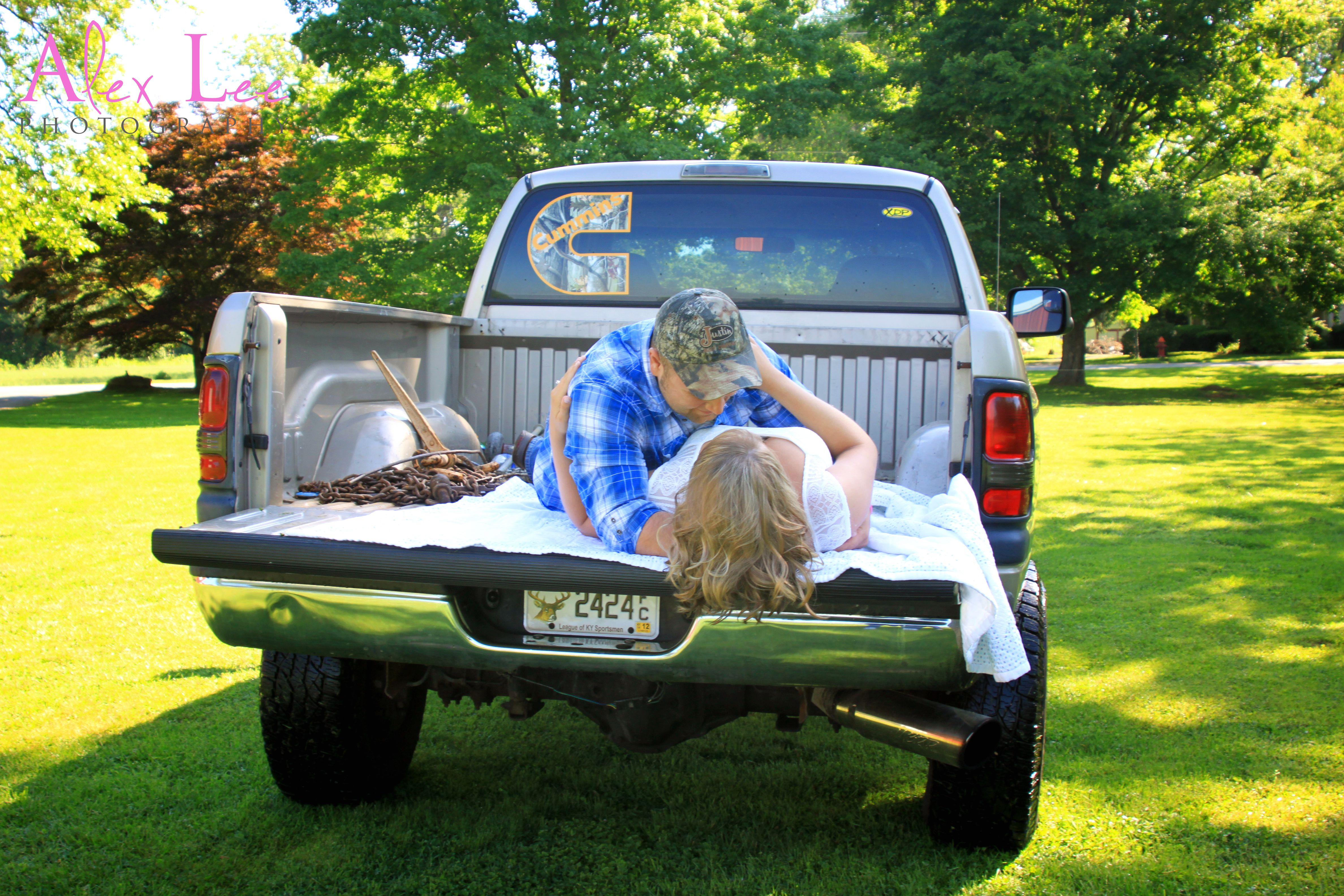engagement picture with truck  summer love