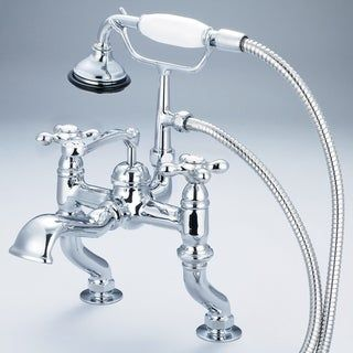 Photo of Vintage Classic adjustable middle deck bath tap with hand shower in chrome finish (labeled metal cross handles), clear, water production