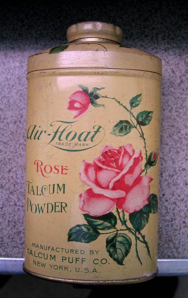 Rose talc powder tin Vintage perfume, Vintage tins