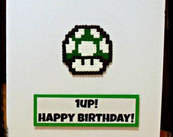 Super Mario Bros Green Hama Champignon Perler Bead 1 Up Carte D