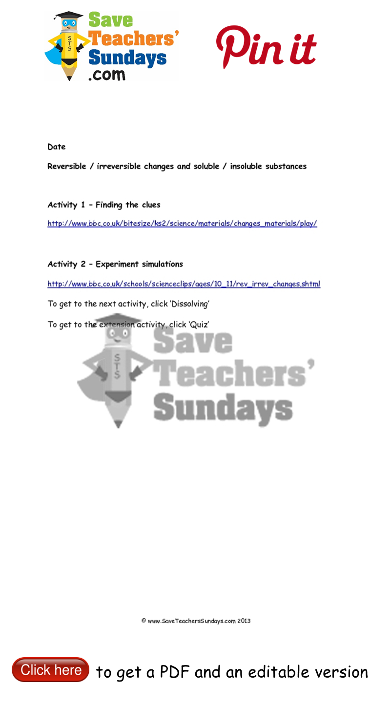 worksheet Soluble And Insoluble Substances Worksheets reversible and irreversible changes soluble insoluble substances hyperlinks go to httpwww saveteacherssundays comscience